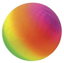 Neon Rainbow Colors Rubber Playground Ball, 9 Inch Indoor Outdoors Very Bright
