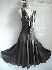 TED BAKER sz12 (3) Vintage 1920's Grey Silk Deco Gatsby Charleston Flapper Dress