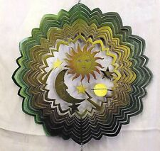 Large Rippled Celestial Wind Chime Metal Green & Blue & Yellow Sun and Moon