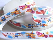"Planes 7/8"" Grosgrain White Ribbon 5 yds Multi Colored Airplanes Pilot Birthday"