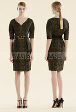 $1,995 GUCCI DRESS BLACK & GREEN LACE JACQUARD SWEETHEART NECKLINE IT 38 US 2