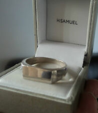 Sterling Silver Narrow Signet Style Ring c.1970/80s Hammer Effect  -  size X