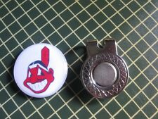 GOLF / Cleveland Indians Logo Golf Ball Marker/with Magnet Hat Clip New!!