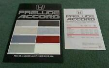 1986 HONDA ACCORD & PRELUDE - UK COLOUR TRIM CHART & PRICE LIST BROCHURE