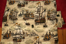 "Vintage Antique Wooden Sailing Tall Ships Linen Woven Cafe Curtain Panel 74""x30"""
