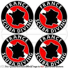 "FRANCE SCUBA DIVING Flag-French Map Shape 50mm (2"") Circular Stickers Decals x4"