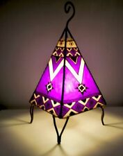 Painted Moroccan Henna Table / Floor Lamp- square- purple 38 cm