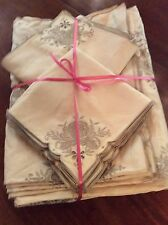 "EXTRA LARGE LINEN VINTAGE BANQUET TABLECLOTH With 24 Napkins  72""x 216"""