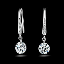 Women Jewelry 925 Sterling Silver Crystal Hoop Dangle Earring Stud Wedding