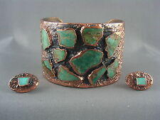 EXQUISITE! Vtg Signed BELL TRADING Co. Turquoise Copper Cuff Earrings SET