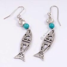 New St Justin Pewter Turquoise Fish Drop Earrings PE738