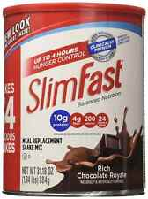 SlimFast Powder Shake Mix Rich Chocolate Royale Protein Fiber Drink Fat Diet Can