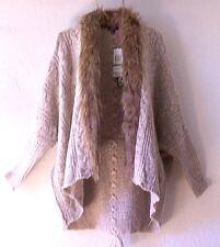 NEW~$70~XOXO~Heather Beige Fur Cardigan Sweater Knit Jacket Top~8/10/M/Medium
