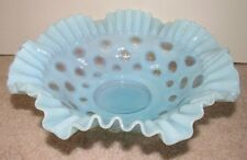 Vintage FENTON Glass Coin Dot Light Blue Opalescent Ruffled Brides Basket Bowl