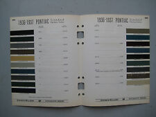 1936 - 1937 Pontiac paint chip color chart