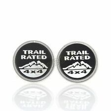2x Black Alloy Car Offroad Trail Rated Nameplate 4X4 Badge Emblem Decal For Jeep