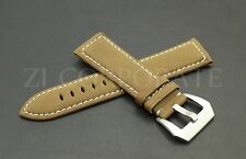 24MM GENUINE LEATHER WATCH BAND STRAP FOR PANERAI Brown Military
