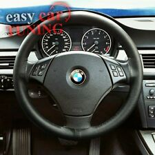 BMW E90 E91 3 SERIES 2005-2011 BLACK REAL GENUINE LEATHER STEERING WHEEL COVER
