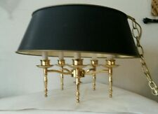 Vintage Bouillotte Chandelier 5 Lights Arms Brass Black & Gold Paper Shade