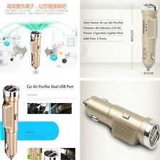 Auto Fresh Air Ionic Purifier Oxygen Bar Ozone Ionizer Cleaner 2USB Car Charger