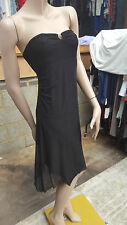 BELLISSIMA Donna senza Spalline SPUMANTE BLACK DRESS Setosa Abito Sera UK 8