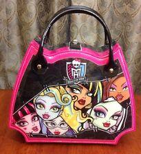 Rare Monster High Dolls Box Purse Tote Lunch Hand Bag Pink Black SKULLETTE