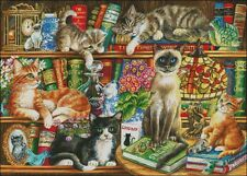 Needlework Crafts Full Embroidery Counted Cross Stitch Kits 14 ct Cats in Books