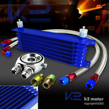 Blue 7 Row High Performance Engine Transmission Cooler+M20 Adapter+Hose
