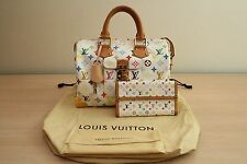 Louis Vuitton Speedy 30 Murakami Multicolor White Handbag With Matching Wallet