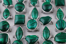 Wholesale Jewelry Lots 2pcs Dark Green  Malachite Gemstone Silver P Metal Rings