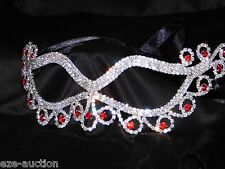 Party Silver, Red Rhinestone Crystal Masquerade Mask Mardi Gras Party W. Ribbon