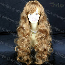 STRIKING! Long Wavy Curly Strawberry Blonde Ladies Wigs skin top wig WIWIGS UK