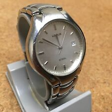 Vintage Lorus Men Heavy Duty All Steel Analog Quartz Watch Hour~Date~New Battery