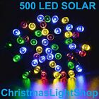 500 Solar LED MULTI Flashing 39.9m Strand Fairy Christmas Garden Lights Outdoor