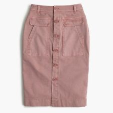 NWT J CREW Button Front Garment Dyed Pencil Skirt in Stretch Twill 2 XS Pink