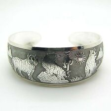 Beauty Hot New Tibetan Tibet silver White Tiger Totem Bangle Cuff Bracelet QW