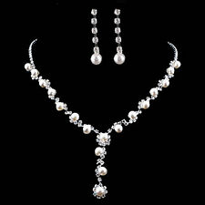 Bridal Silver Diamante Crystal Rhinestone Pearl Necklace Earring Jewelry Set