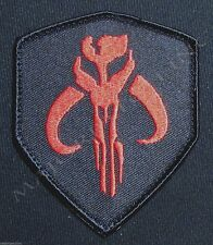 MANDALORIAN BANTHA SKULL STAR WARS HUNTER BOBA FETT BLACK OPS RED VELCRO® PATCH