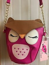 WOMEN'S PINK HEART OWL BETSEY JOHNSON CROSS BODY PURSE SHOULDER BAG