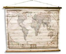 Weltkarte Antik - Stil Wandkarte aus Leinen Leinwandbild Vintage Historisch groß