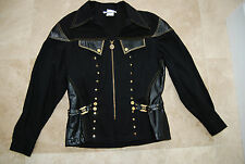 Black Denim & Leather CACHE Zip Front Jacket w/Gold Studs & Accents Medium