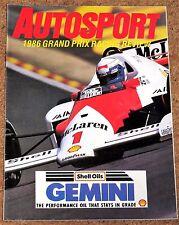 Autosport 1986 F1 REVIEW - Williams Profile, Streiff Tyrrell 015 Poster, Senna