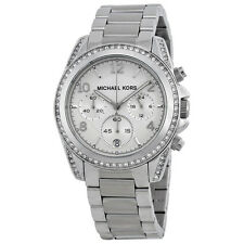 Michael Kors Ladies Chronograph White Crystal Stainless Steel Watch MK5165