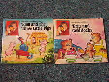 EMU & GOLDILOCKS - THREE LITTLE PIGS - 2 BOOKS ROD HULL -1977 RARE - M. SULLIVAN