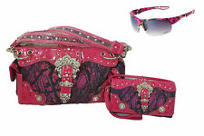 Camo Concealed Carry Gun Buckle Purse Messenger Wallet Sunglasses Purple Pink