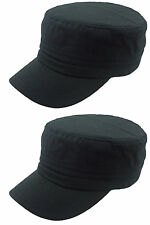 2X NEW PLAIN CADET CASTRO MILITARY STYLE HAT CAP BLAk