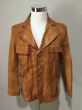 Vintage 1970's Mens Leather Blazer Jacket Coat Fight Club Rocker Pimp Sz Small