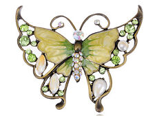GB Peridot Green Clear Crystal Rhinestone Enamel Huge Butterfly Pin Brooch