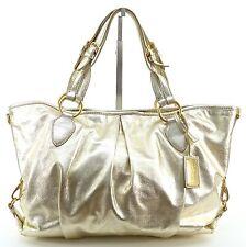 Car Shoe Bag Gold Leather Tote Handbag Shoulder Metallic Canvas