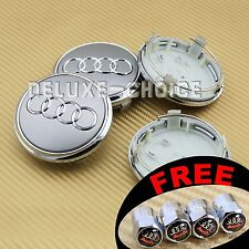 4 Silver Car Alloy Wheel Center Hub Cap Emblem Badge Logo 78mm AUDI 4L0601170